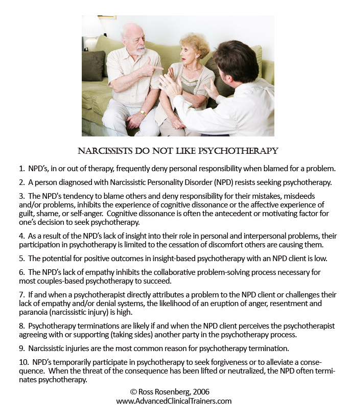 narcissists don't therapy