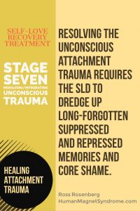 Self Love Recovery Treatment - Stage Seven: Unconscious Trauma | Resolving the Unconscious trauma requires the SLD to dredge up long-forgotten suppressed and repressed memories and core shame. - Ross Rosenberg