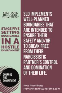Self Love Recovery Treatment - Stage Five: Setting Boundaries in a Hostile Environment | SLD Implements well-planned boundaries that are intended to ensure their safety and/or to break free from their narcissistic partner's control and domination of their life. - Ross Rosenberg