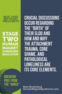 "Self Love Recovery Treatment - Stage Two: Human Magnet Syndrome Education | Crucial discussions occur regarding the ""birth"" of their SLDD and how and why the attachment trauma, core shame, and pathological loneliness are its core elements. - Ross Rosenberg"